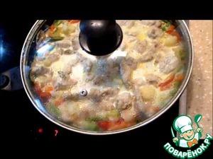 Рецепт Рагу из куриной грудки с фунчозой и овощами