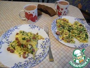 Рецепт Омлет с капустой и сосисками