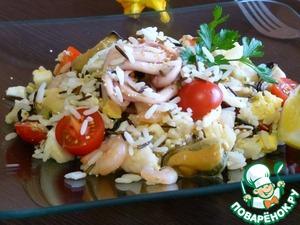 Рецепт Салат из дикого риса и морепродуктов