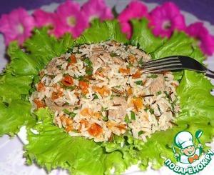 Рецепт Рисовый салат с говядиной, курагой и орехово-апельсиновым соусом