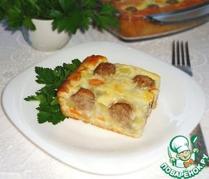 Рецепт Пирог с рисом, овощами и фрикадельками