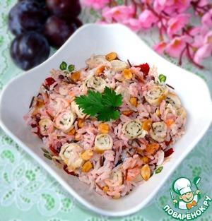 Рецепт Тёплый рисовый салат с курицей, сливами и арахисом
