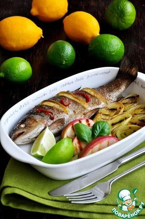 Рецепт Рыба запеченная с луком-пореем и яблоками