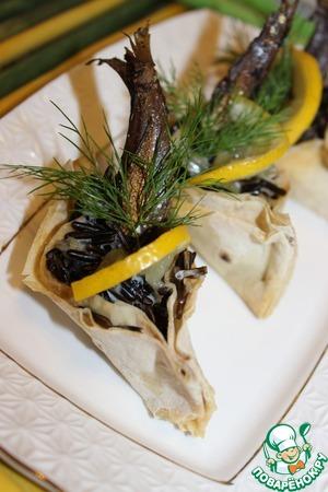 """Рецепт Закуска из лаваша и дикого риса """"Каноэ"""""""