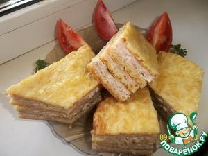 Рецепт Слоеный сырный пирог с куриным фаршем