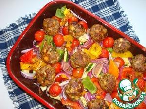 Рецепт Тефтели с пармезаном и печёные овощи