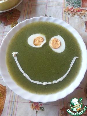 Рецепт Суп-пюре со шпинатом и зеленым горошком