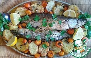 Рецепт Кефаль, запеченная с овощами