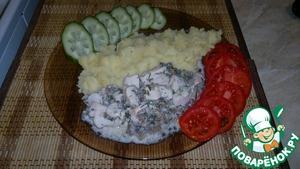 Рецепт Куриное филе с шампиньонами тушеное в сметане