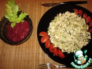 Рецепт Яичница-болтунья с диким рисом MIX и сельдереем
