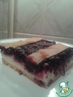 Как приготовить домашний рецепт с фото Черничный пирог с творогом