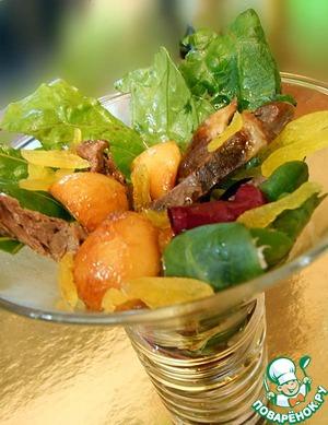 Рецепт Салат с кабачком и индюшачьими сердечками