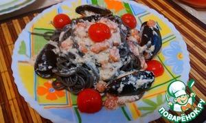 Рецепт Паста Нери с морепродуктами в сливочном соусе