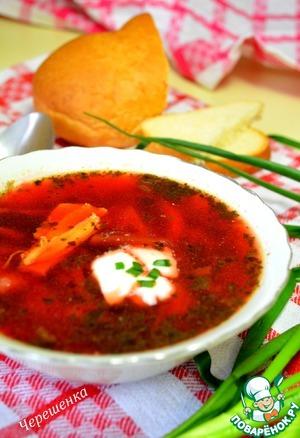 Рецепт Куриный суп со свеклой и щавелем