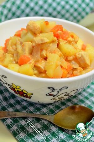 Рецепт Картофель тушеный в мультиварке с курицей и овощами