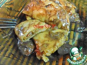 Рецепт Постные вареники с тушеной капустой в грибной подливке (в горшочках)