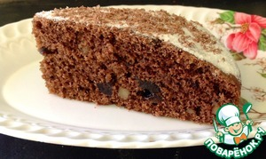 Рецепт Шоколадный постный пирог с черносливом и орехами