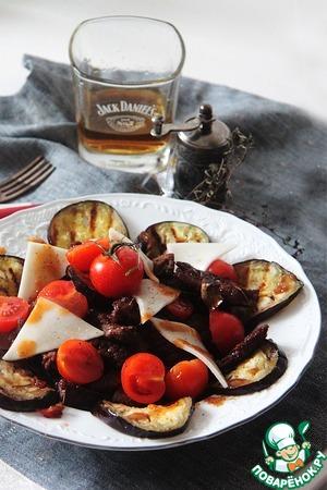 Рецепт Салат Meat с баклажанами и козьим сыром