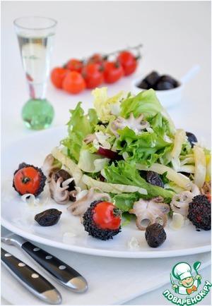 Рецепт Легкий салат с морепродуктами