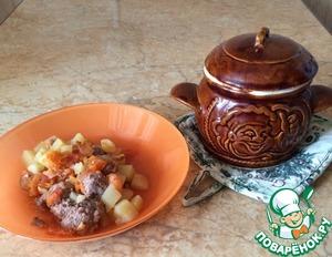 Рецепт Картошка с фрикадельками в горшочках по-домашнему