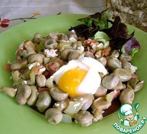 Как приготовить Молодые бобы с хамоном и яйцом домашний пошаговый рецепт с фото