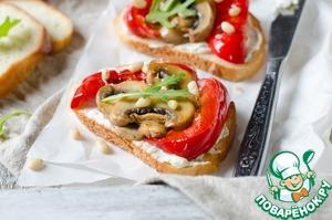 Рецепт Тосты с творожным сыром и запеченными овощами в мультиварке
