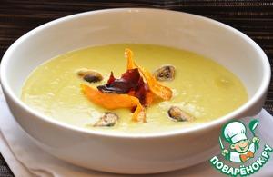 Рецепт Гороховый суп-пюре с мидиями и овощными чипсами