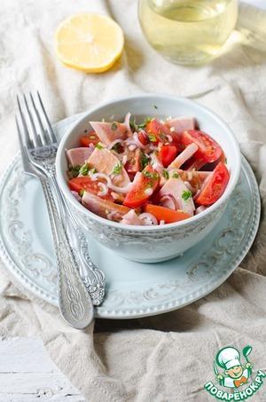 Рецепт Салат с ветчиной, помидорами и луком