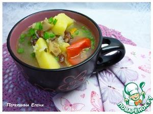 Рецепт Рисовый суп с маринованными грибами и красной фасолью