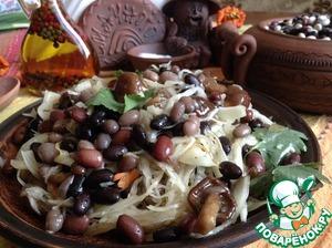 Рецепт Салат-закуска из фасоли с капустой и грибами