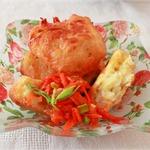 Картофельные пончики, с овощной витаминной икрой приготовленные в мультиварке
