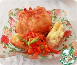 Рецепт Картофельные пончики, с овощной витаминной икрой приготовленные в мультиварке