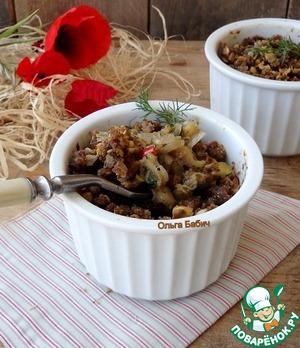 Рецепт Ржаной крамбл с печеными баклажанами