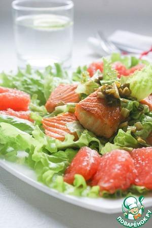 Рецепт Лососевый салат с заправкой из зеленого лука