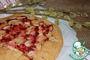 Рецепт Овсяная галета с яблоком и вишнёвым конфитюром