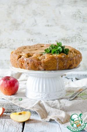 Рецепт Яблочный пирог с заливкой из кефира и сгущенки