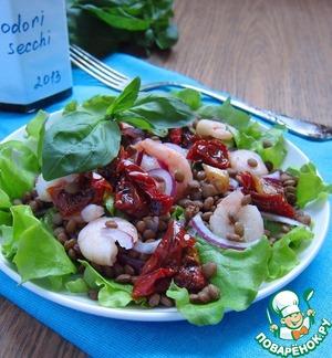 Рецепт Салат из чечевицы с креветками и вялеными томатами