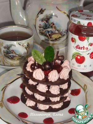 """Рецепт """"Шоколадно-творожный десерт с вишневым низкокалорийным конфитюром d'arbo"""" для тех, кто следит за фигурой"""
