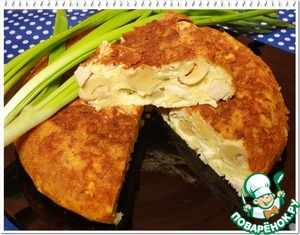 Рецепт Сырная запеканка с шампиньонами и копченой курицей