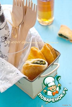 Кальцончини из фальшивого слоeного теста со шпинатом и сыром