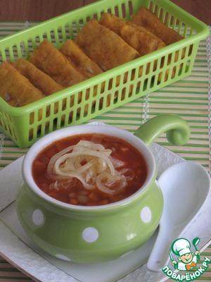 Рецепт Суп томатный с чечевицей и карамелизированным луком