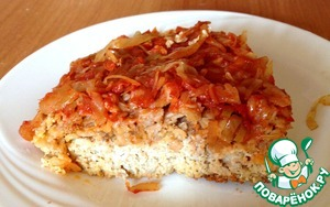 Рецепт Куриное суфле с геркулесом и тушеной квашеной капустой