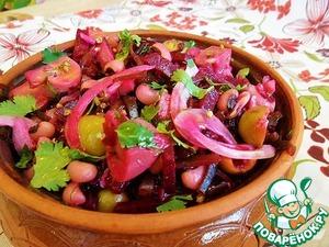 Рецепт Салат из морской капусты с фасолью