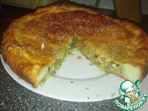 Рецепт Пирог с капустой, яйцами и зеленью из опарного дрожжевого теста (проверенное тесто мягкое и нежное)