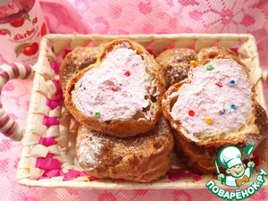 Рецепт Заварное пирожное с творожно-вишневой начинкой
