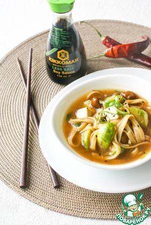 """Рецепт Суп-лапша с китайскими опятами """"намеко"""" и брюссельской капустой"""
