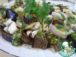 Рецепт Легкий салат с копченым судаком