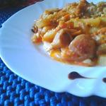 Грибы с картофелем в сметано-томатном соусе
