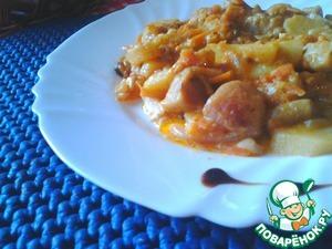 Рецепт Грибы с картошкой в сметано-томатном соусе