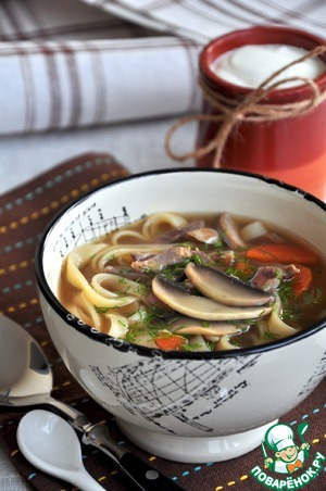 Рецепт Суп-лапша с куриными потрошками
